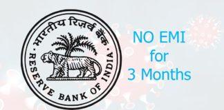 RBI Announces 3 Month EMI Relief